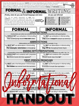 FORMAL and INFORMAL Writing Styles