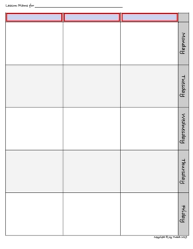 FORMS - Lesson Plans Pages - for two page spread (fillable form)