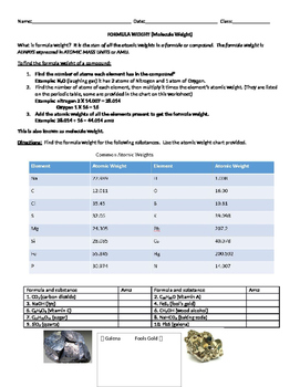 FORMULA WEIGHT (Molecule Weight) Worksheet and Socrative Quiz