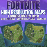 FORTNITE - 9 x MATHS MAPS - GRID, COORDINATE PLANES - HIGHEST QUALITY