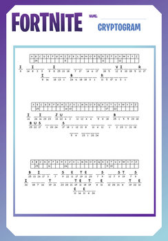 photograph about Printable Cryptogram Puzzles titled FORTNITE - Pleasurable PUZZLES - Term Lookups, Cryptograms, Maze