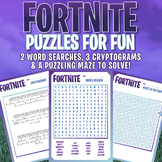 FORTNITE - FUN PUZZLES - Word Searches, Cryptograms, & Maze