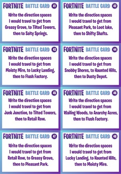 FORTNITE - MATHS GRID MAPPING ACTIVITY - 56 Question Cards!!!
