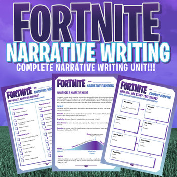FORTNITE - Narrative Writing Unit - 20 Page Workbook