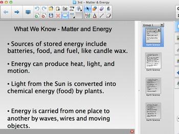 FOSS 3rd Grade Matter and Energy Content Chart