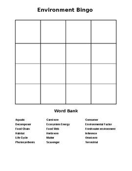 FOSS 4th Environmental Vocab Bingo