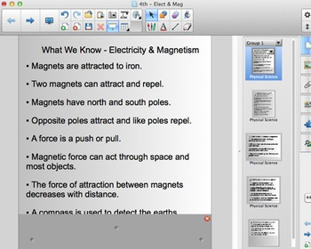 FOSS 4th Grade Electricity & Magnetism Content Chart