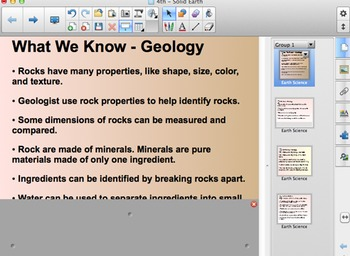 FOSS 4th Grade Solid Earth Smartboard Content Chart