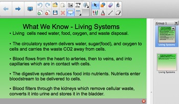 FOSS 5th Grade Living Systems Smartboard Content Chart