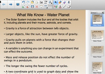 FOSS 5th Grade Water Planet Smartboard Content Chart