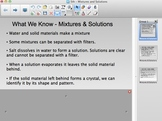 FOSS 5th grade Mixtures and Solutions Smartboard Content Chart
