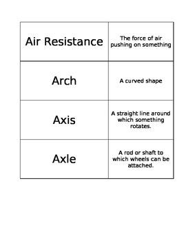FOSS Balance and Motion Vocabulary Cards