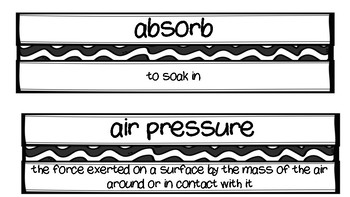 FOSS - Earth and Sun Vocabulary for Word Wall - Black and White