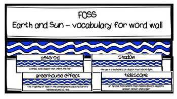 FOSS - Earth and Sun Vocabulary for Word Wall - Blue and White