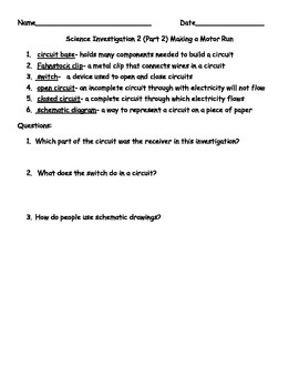 FOSS Electricity and Magnetism Investigation 2 Study Packet