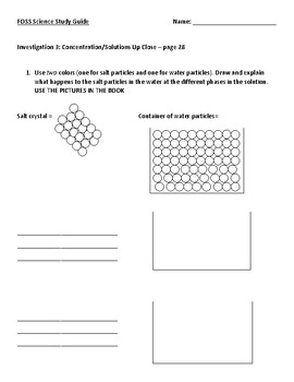 FOSS Fifth Grade Mixtures and Solutions Study Guide (Investigation 1-3)