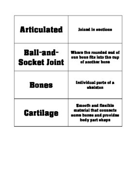 FOSS Human Body Vocabulary Cards
