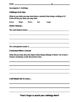 FOSS Ideas and Inventions Investigation 1 Part 1 Science Response Sheet