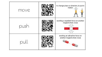 FOSS Kit: PS Force, Motion, Energy QR Code Vocabulary Match