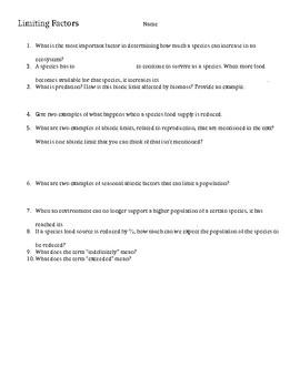 FOSS Limiting Factors Worksheet