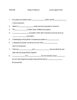 FOSS SCIENCE  4th grade       ENVIRONMENTS       Range of Tolerance