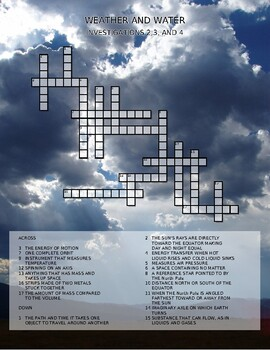 FOSS SCIENCE             WEATHER AND WATER        Investigations 2,3,4  PUZZLE