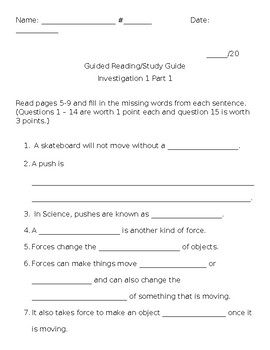 FOSS Science Investigation 1 Part 1