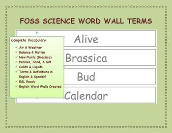 FOSS Science Word Wall Terms Including  Brassica Unit