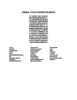 FOSSIL FUELS WORD SEARCH