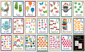 FOUNDATION FONT watercolour NUMBER POSTERS ~ 1 to 20  print, laminate & display!