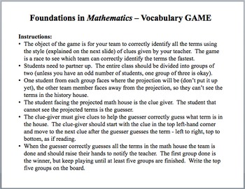 FOUNDATIONS IN MATH! Geometry Geometric Terms Word Work Vocabulary Game