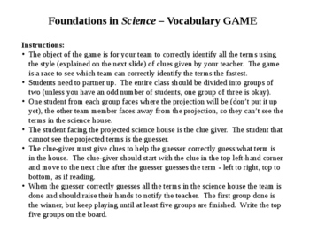 FOUNDATIONS IN SCIENCE Astronomy Earth Science Terms Word Vocabulary Game