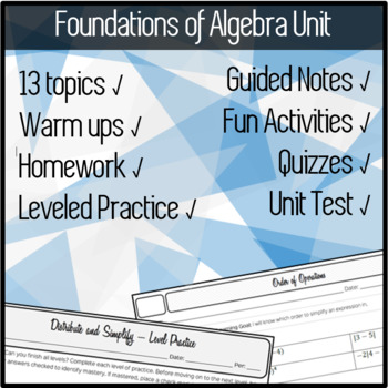 FOUNDATIONS of ALGEBRA - Notes + Practice + Warm Ups + HW + Quizzes and Tests!