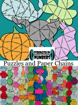 FOUR 1  & 2-Step Equations Halloween Cooperative Puzzles to make Bulletin Board