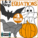 FOUR 1  & 2-Step Equations Halloween Cooperative Puzzles t