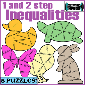 FOUR 1 & 2 Step Inequalities Cooperative Puzzle Spring Animals Bulletin Board