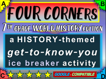 """""""FOUR CORNERS"""" Get-to-know-you game - ice breaker for 7th"""