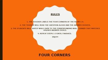 FOUR CORNERS /ICEBREAKER COMPLETE POWERPOINT!!!