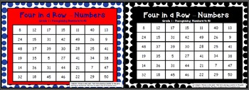 FOUR IN A ROW GAME like connect 4 14 VARIATIONS grade 1 pack
