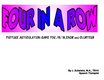 FOUR IN A ROW PICTURE /S/ Blends ARTICULATION GAME for Speech Therapy
