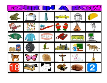 FOUR IN A ROW /T/ PICTURE ARTICULATION GAME for Speech Therapy