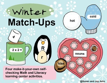 FOUR QUICK & EASY Math & Literacy CENTERS for WINTER