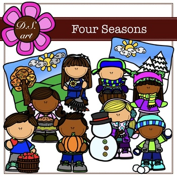FOUR SEASONS Digital Clipart (color and black&white)
