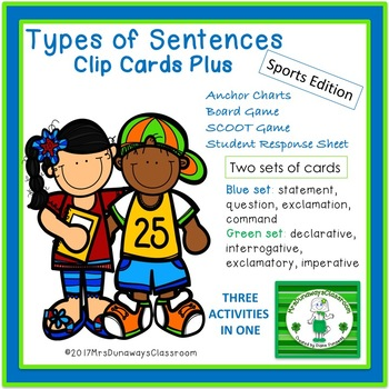FOUR TYPES OF SENTENCES CLIP CARDS PLUS
