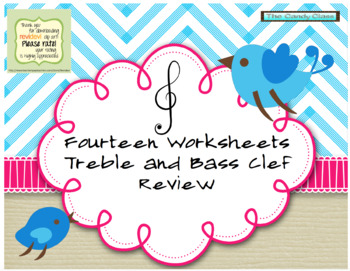 FOURTEEN!!!! Treble and bass clef worksheets