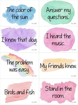 Reading Fluency Games - FOURTH 100 Fry Phrases