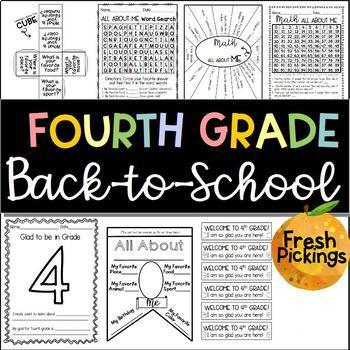 FOURTH GRADE Back to School Activities