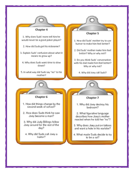 FOURTH GRADE RATS by Jerry Spinelli - Discussion Cards