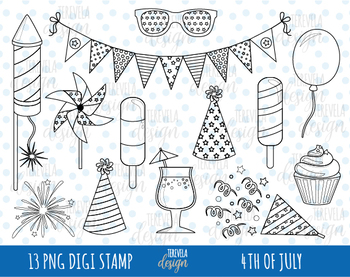 FOURTH OF july clipart, 4TH OF JULY graphics, independence day, black line