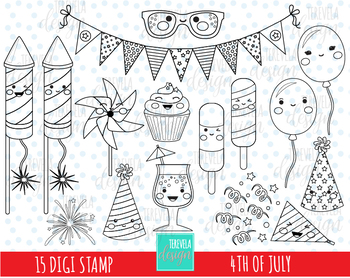 FOURTH OF july clipart, 4TH OF JULY, independence day, black line, kawaii